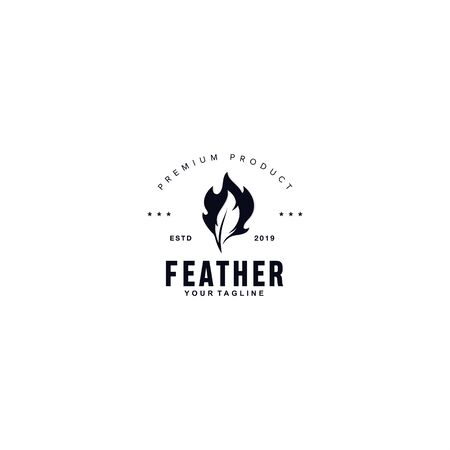 Black and white feather logo Иллюстрация