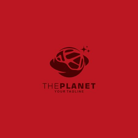 modern  planet with red background Иллюстрация