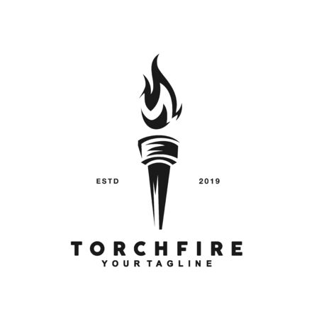 Black and White Torch Logo