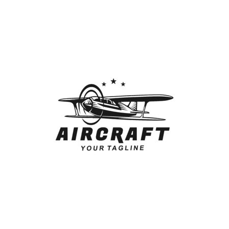 Black and white classic plane logo