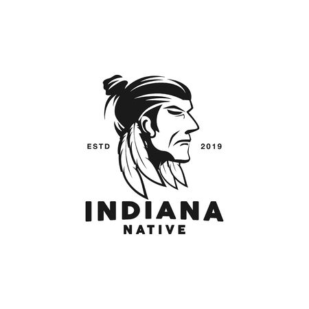 Black and White Indiana Native logo Иллюстрация