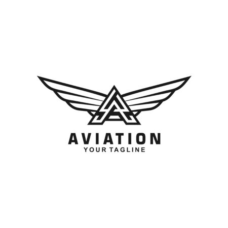 Black and White initial letter A logo for aviation Иллюстрация