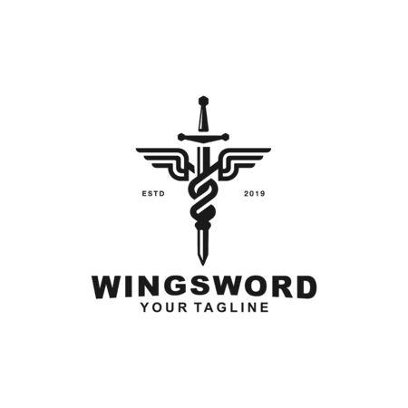 Black and White sword logo symbol