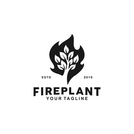 Simple and modern logo for fire and leaf