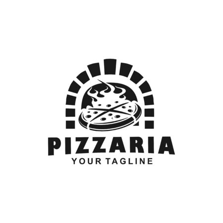 Black and White Traditional Pizza Logo Иллюстрация
