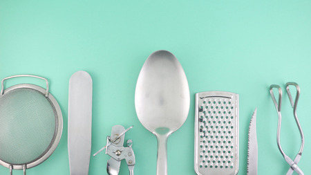Kitchen Utensils - on Teal (Organized)