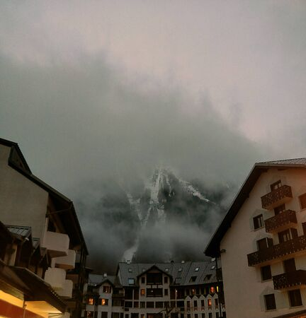 Houses in the mountains, Chamonix Mont Blanc France 写真素材