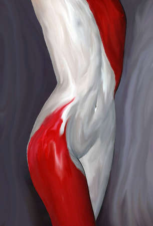 Bodypainted female model mid section Stock Photo