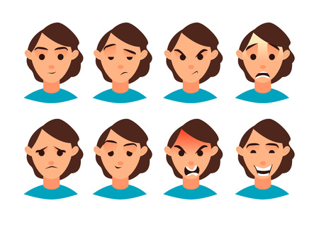 Vector illustration. Set of women emotion. Set for your design. Flat icon. Cartoon character.