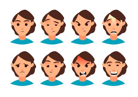 Vector illustration. Set of women emotion. Set for your design. Flat icon. Cartoon character. Banco de Imagens - 84625597