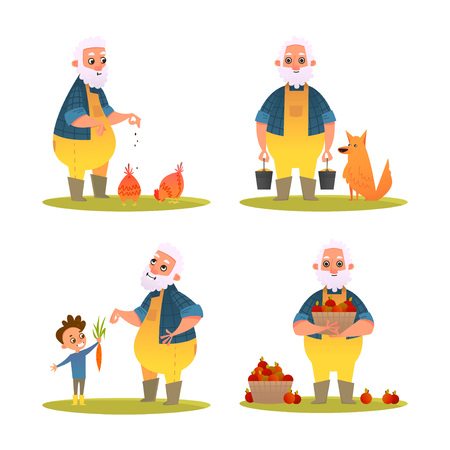 Set of funny farmer. Character design in cartoon style.