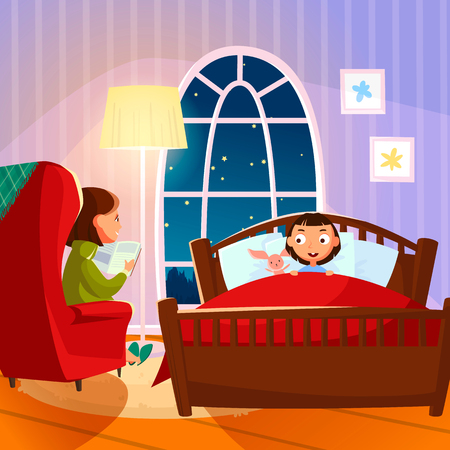 Mother reading bedtime story to her daughter. Vector illustration.