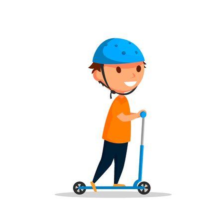 Vector jongen op de kick scooter.