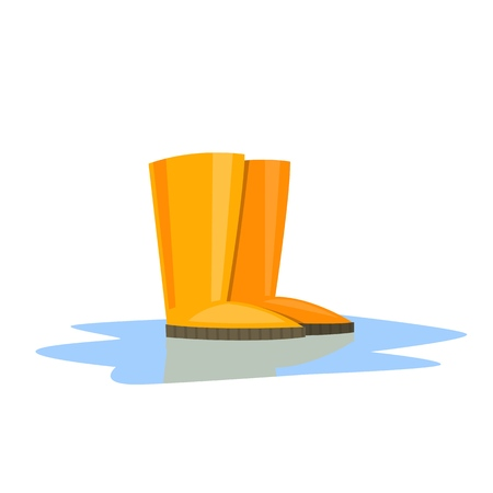 Yellow Rubber Boots. Isolated white background. Vector illustration. Illustration