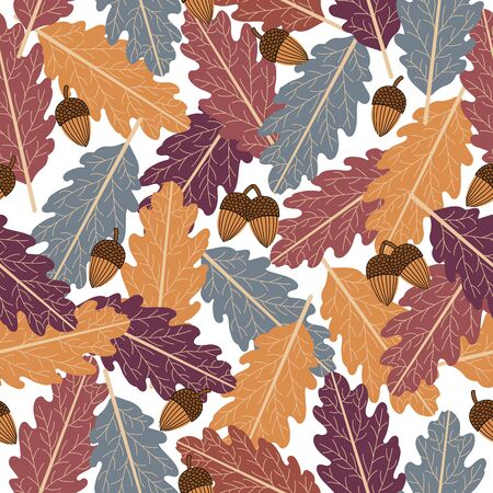 Seamless pattern of oak tree with colorful leaves and acorn.Beautiful pattern to fabric or wallpaper. Illustration