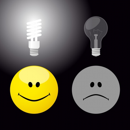 Illustration of good and bad idea via incandencent and energy-saving bulbs   Illustration