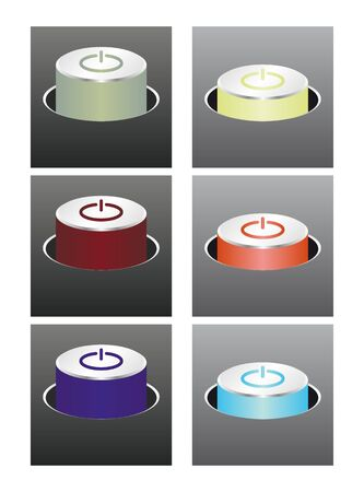 Glowing colored buttons  3 color, on and off state    Illustration
