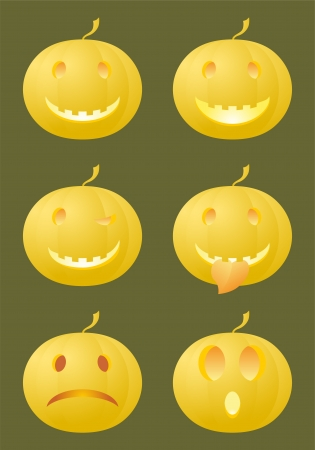 6 standard emoticons made of Halloween pumpkins   Illustration