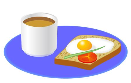 Cup of coffee, toast, egg, onion and tomato