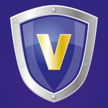 Sapphire shield with letter V on it  vector clipart