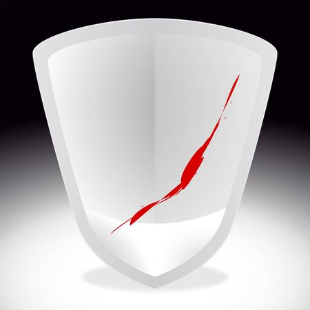 Silver shield with spots of blood on it  vector clipart