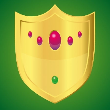 Golden shield with rubies and emeralds  vector clipart