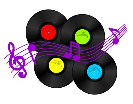 record: 4 vinyl records and few musical signs  vector clipart