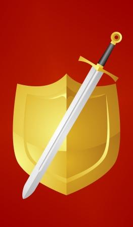 sward: D'oro scudo e una spada Vettoriali