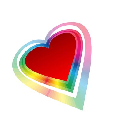 The red heart with rainbow beams   Illustration
