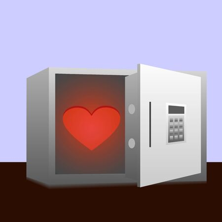 The red glowing heart in the safe