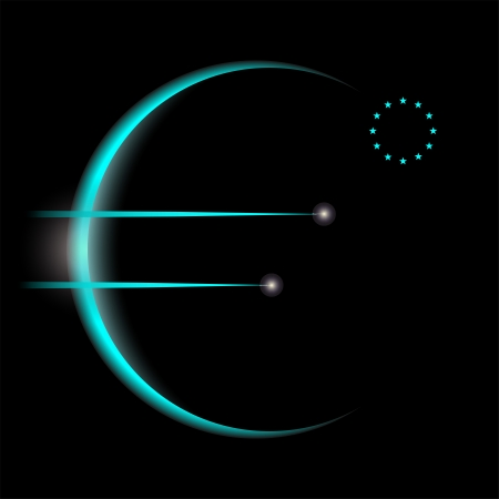 money cosmos: Euro sign as sunrise from space
