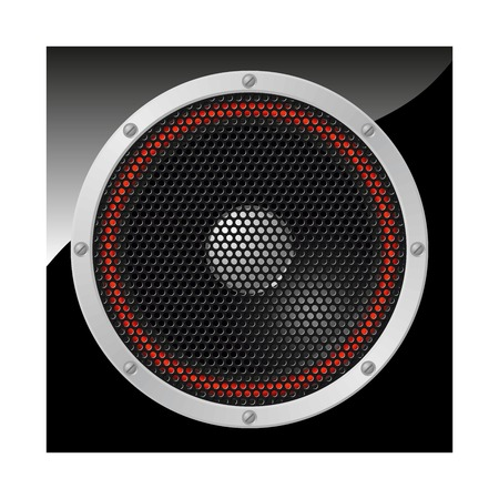 Loudspeaker with red surround covered with speaker grille   Illustration
