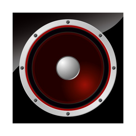 Loudspeaker with dark red diaphragm   Illustration