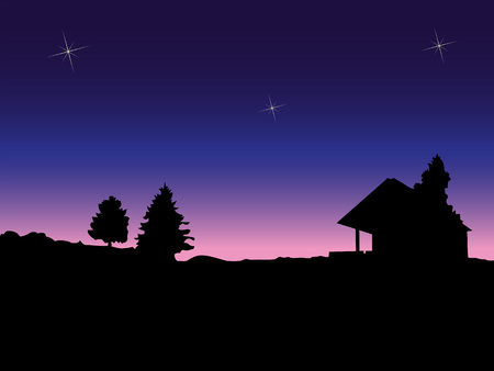 Dark silhouette of rural landscape after sunset   Illustration