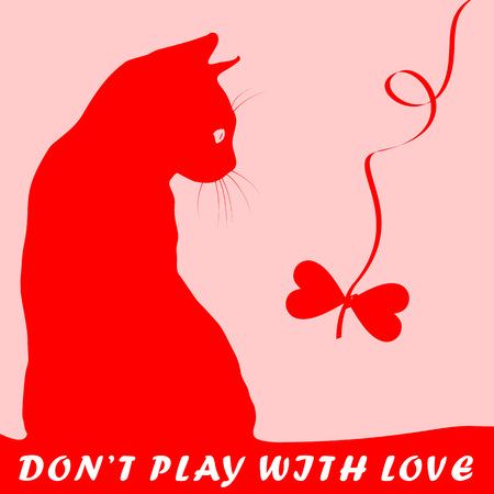fondness: Cats silhouette with heart shaped toy for kitten