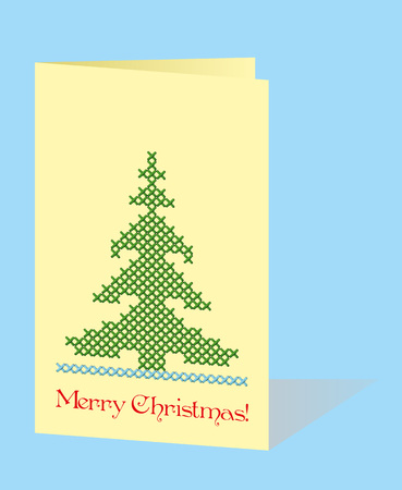 Christmas greeting card with embroidered fir-tree