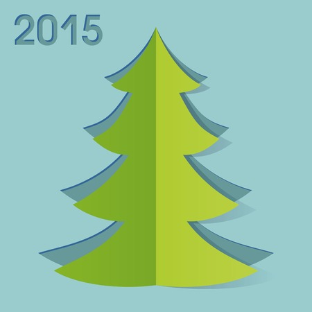 New Year greeteng card with cut out fir-tree Illustration