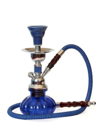 Blue and silver hookah over white Standard-Bild