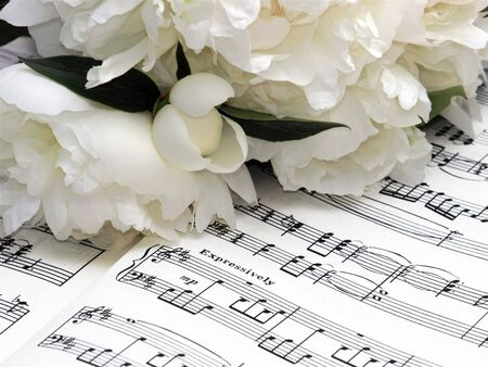 incarnadine: Peony Pink Flowers Bouquet on Musical Notes