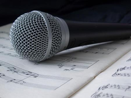 classical microphone on sheet of notes  photo