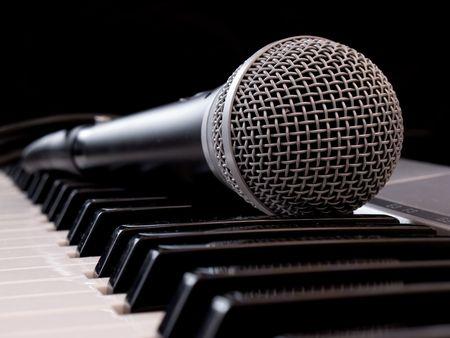 midi: classical microphone on midi keyboard Stock Photo