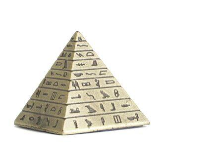 Metal Imitation Of Egyptian Pyramid Macro Isolated On White Background