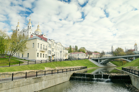 Svyato-Duhov Monastery And Vitba River In Vitebsk Belarus In Autumn Stock Photo
