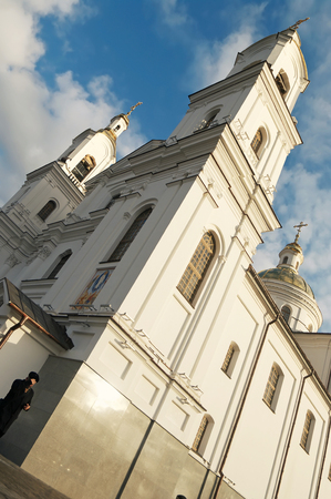 The Lords Transfiguration Cathedral in Vitebsk Under Blue Cloudy Sky