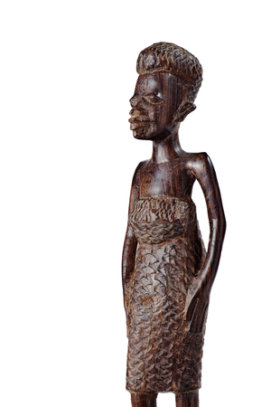 African Statue of a Girl in a Dress Made ​​of Mahogany Over White Knee Length