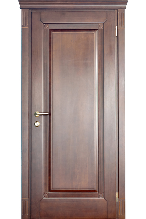 Wooden interior door of mahogany wood with brass handle and geometric ornament carving isolated on white background