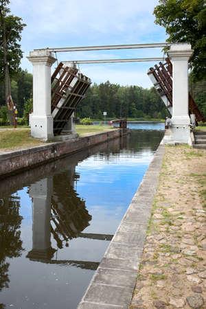 Augustow Canal, Avgustovski channel or Kanal Augustowski uniting Vistula Neman rivers in Chertok Dombrovka Hrodna, Grodno visafree region Belarus in Europe.