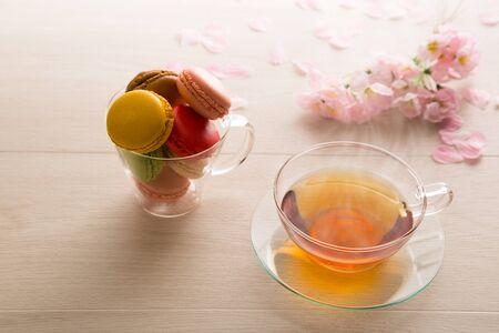 Macaron and tea Stock Photo