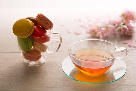 macaron: Macaron and tea Stock Photo