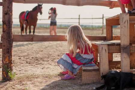 looking after: girl on a farm looking after the horses Stock Photo